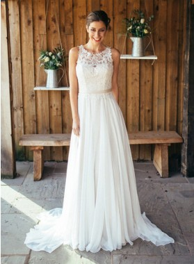 2019 Cheap A Line Chiffon Wedding Dresses With Patterns
