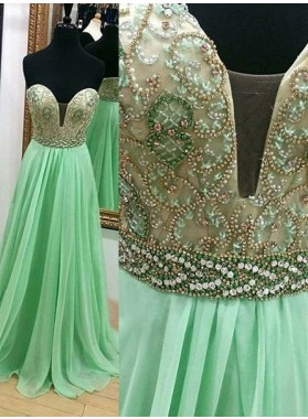Beading Floor-Length/Long A-Line/Princess Chiffon Prom Dresses