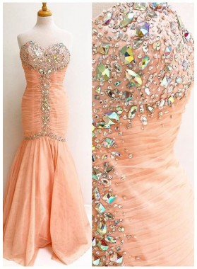 Crystal Detailing Ruching Mermaid/Trumpet Prom Dresses