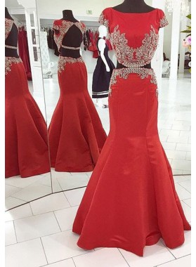2019 Gorgeous Red Capped Sleeves Crystal Backless Mermaid/Trumpet Satin Prom Dresses