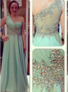 Sequins Beading One Shoulder A-Line/Princess Chiffon Prom Dresses