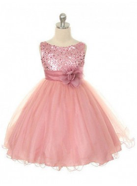 Ball Gown Jewel Sleeveless Hand-Made Flower Long Organza Flower Girl Dress