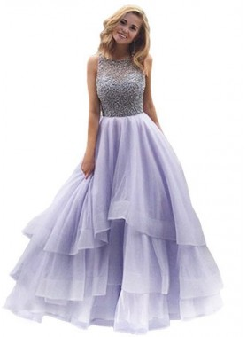 Lavender Beading Layers Ball Gown Organza Prom Dresses