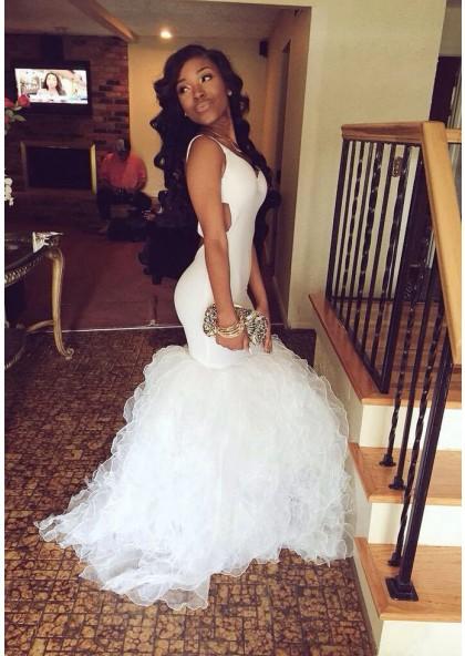 33755921c4ea 2019 Unique White Straps V-Neck Mermaid/Trumpet Stretch Satin Prom Dresses