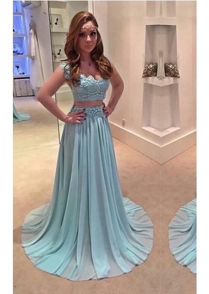 d3a19b92b12 LadyPromDress 2019 Blue Appliques V-Neck A-Line Princess Chiffon Two Pieces Prom  Dresses