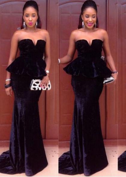 dc81b696822 LadyPromDress 2019 Blue Sweetheart Floor-Length Long Mermaid Trumpet Velvet Prom  Dresses