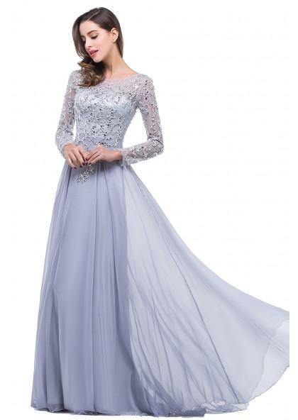 5a5764371881 2019 Elegant Princess/A-Line Chiffon Long Sleeves Silver Prom Dresses