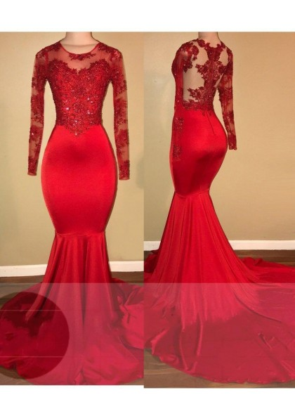 LadyPromDress 2019 Red Mermaid Prom Dresses