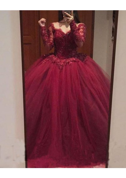 248e601feab1 Elegant Burgundy Ball Gown Long Sleeves Tulle High Waist Sweetheart Prom  Dresses With Appliques