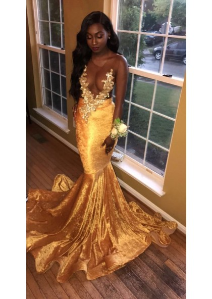 a92cc62ce051 2019 Newly Gold Transparent Velvet Long Train Prom Dresses With Appliques  SKU: 2019PROM-5131 ...