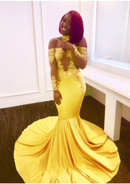 9b96f32d3d11 Off Shoulder Mermaid Long Sleeves Yellow Long Train Prom Dresses With  Appliques