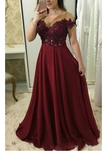 Cheap A Line Chiffon Burgundy Floor Length Plus Size Prom Dresses With  Appliques