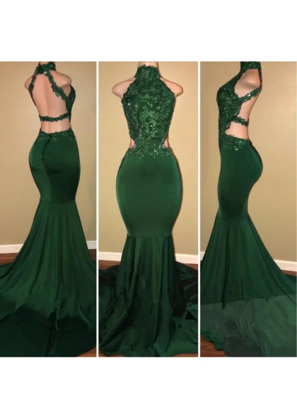 4a37eeef10e Sexy High Neck Green Backless Mermaid Elastic Satin Appliques Long African Prom  Dresses