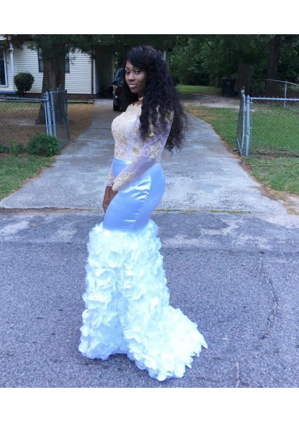 White Long Sleeves Off Shoulder Satin Mermaid African Lace Pleated Prom Dresses