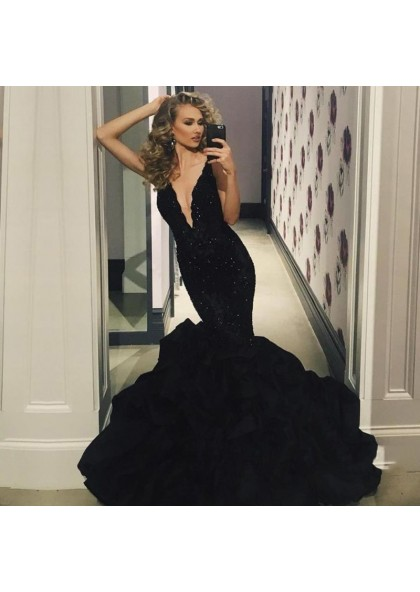 21c36a405d0 Sexy Black Deep V Neck Mermaid Ruffles Appliques Long Prom Dresses