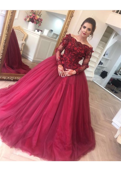095ded972bbb Off Shoulder Tulle Burgundy Long Sleeves Ball Gown Prom Dresses With Flowers