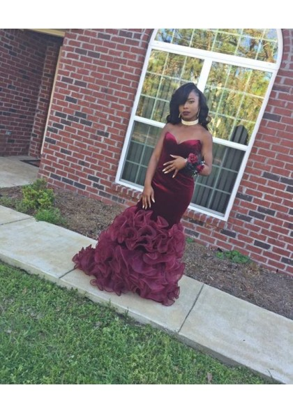 3ad95d2a984c Sexy Mermaid Sweetheart Burgundy Velvet Organza African Strapless Rose Ruffles  Prom Dresses