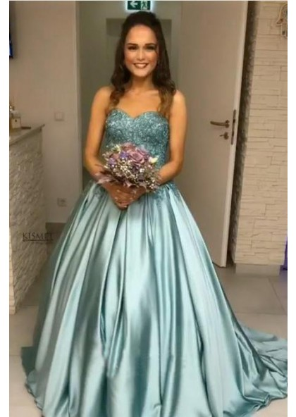 127367d479 New Arrival Elastic Satin Sweetheart Ball Gown Turquoise Strapless Long  Prom Dresses
