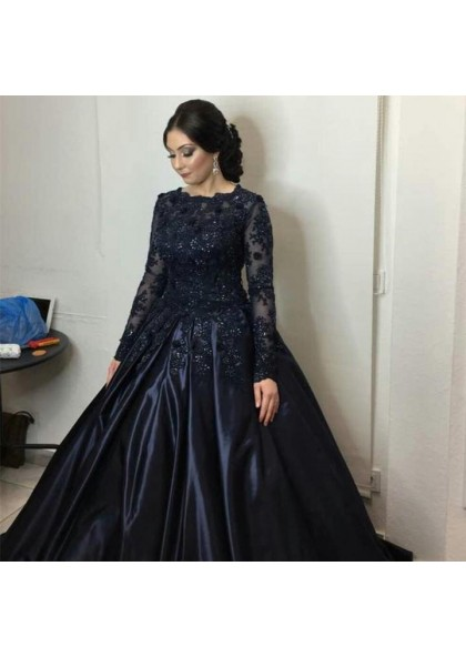 b507f6bf4e0 Long Sleeves Satin Dark Navy Ball Gown Prom Dresses With Appliques
