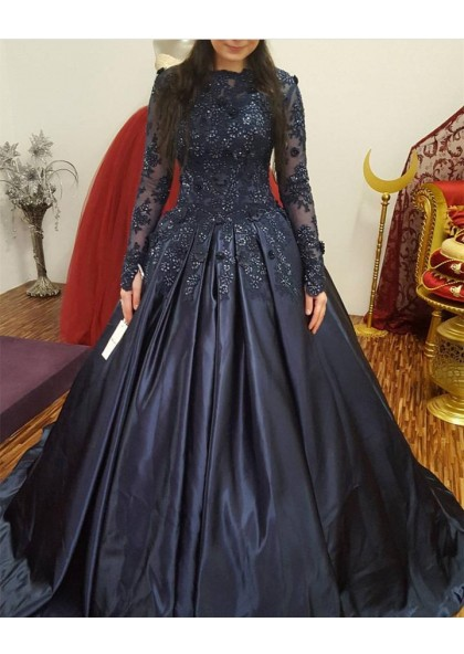 59b7ae88899 Long Sleeves Satin Dark Navy Ball Gown Prom Dresses With Appliques SKU   2019PROM-5702 ...