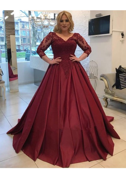 8a83c41043f Cheap Burgundy Long Sleeves V Neck Lace Up Back Ball Gown Satin Prom Dresses