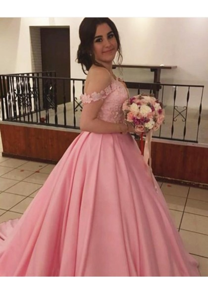 45334f05bf3 Pink Newly Satin Off Shoulder With Appliques Ball Gown Sweetheart Prom  Dresses