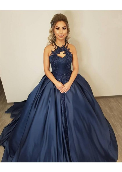 8c9f7d02312 Cheap Dark Navy Satin Halter Ball Gown Prom Dresses With Appliques
