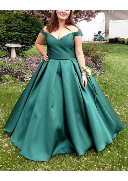 Cheap Satin Teal Off Shoulder Plus Size Ball Gown Sweetheart Prom Dresses