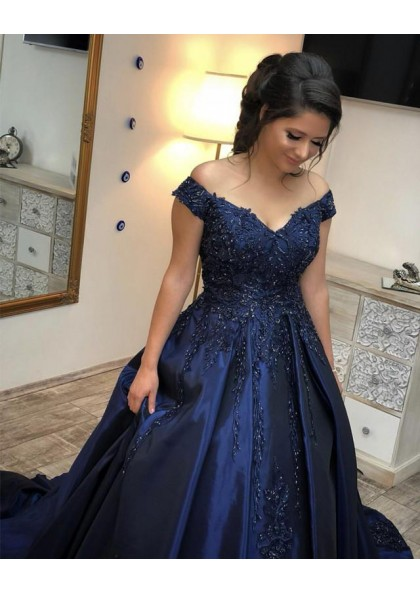 69c013d135192 Dark Navy Off Shoulder Sweetheart Beaded Satin Ball Gown Prom Dresses 2019