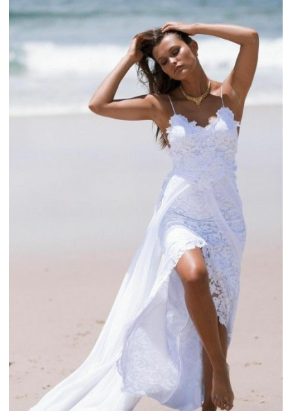 Cheap A Line Chiffon High Low Lace Spaghetti Straps Beach Wedding Dresses