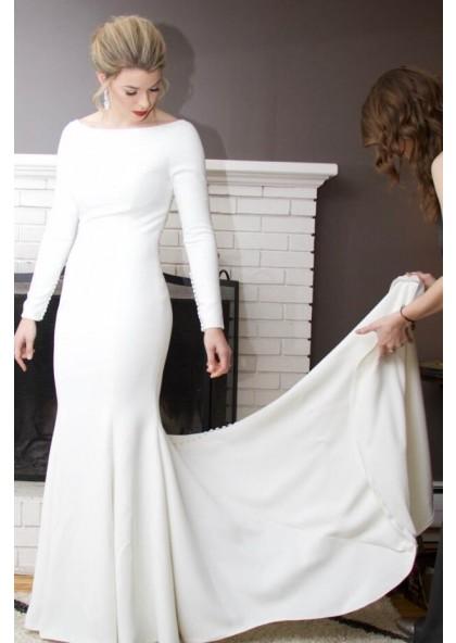 2021 Amazing Sheath Satin Ivory Crew Neck Long Sleeves Beaded Long Wedding Dresses