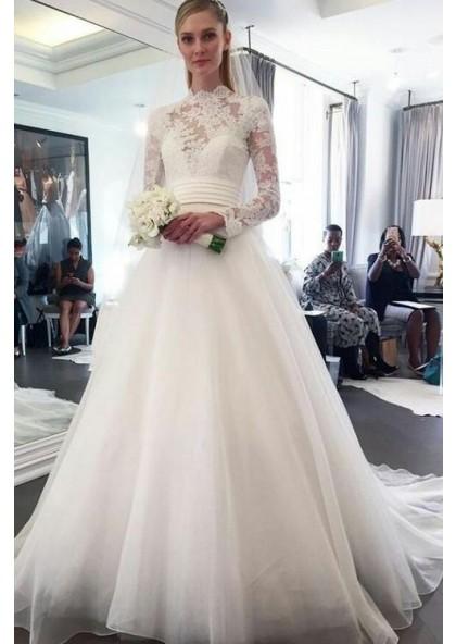 Elegant A Line Organza Long Sleeves High Neck Lace Wedding Dresses 2020