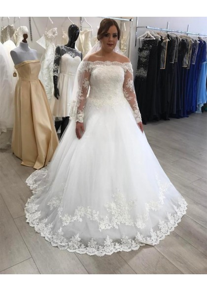 2019 White A Line Off Shoulder Lace Long Sleeves Plus Size Wedding Dresses
