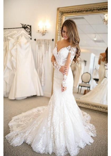 Sexy Mermaid Long Sleeves Lace Sweetheart 2020 Wedding Dresses,Pattern Kerala Wedding Flower Girl Dresses