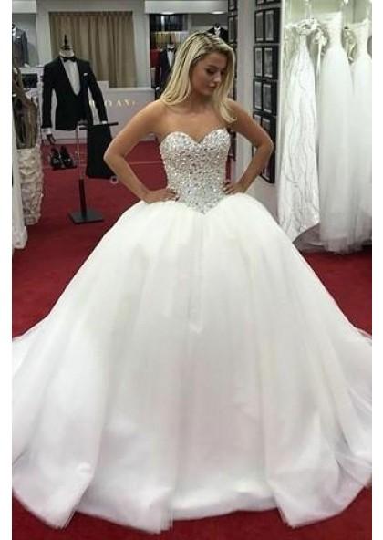 2021 Luxury Sweetheart Satin Long Ball Gown Wedding Dresses