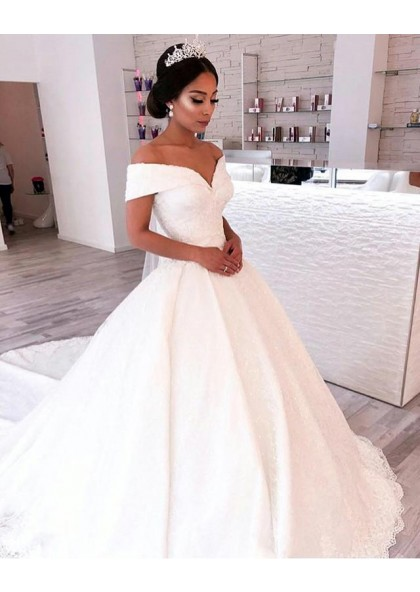 2019 A Line Elegant Off Shoulder Sweetheart Capped Sleeves Satin Long Lace Wedding Dresses