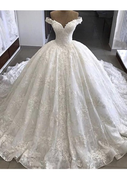 Amazing Off Shoulder Sweetheart Lace Long Ball Gown Wedding Dresses 2020,Tulle And Lace Wedding Dresses