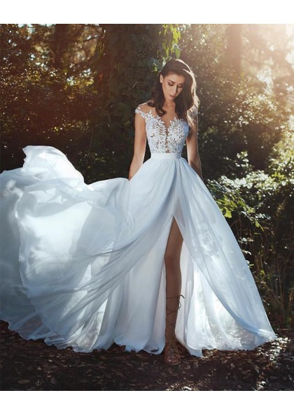 2019 New Arrival A Line Chiffon Side Slit Capped Sleeves Beach Wedding Dresses