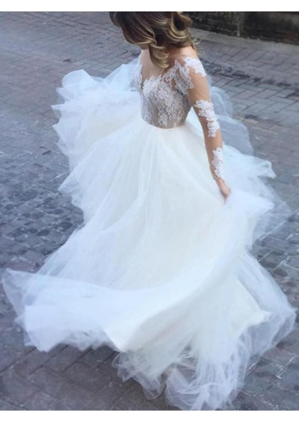 2019 New Designer A Line Tulle Long Sleeves Lace Backless Beach Wedding Dresses