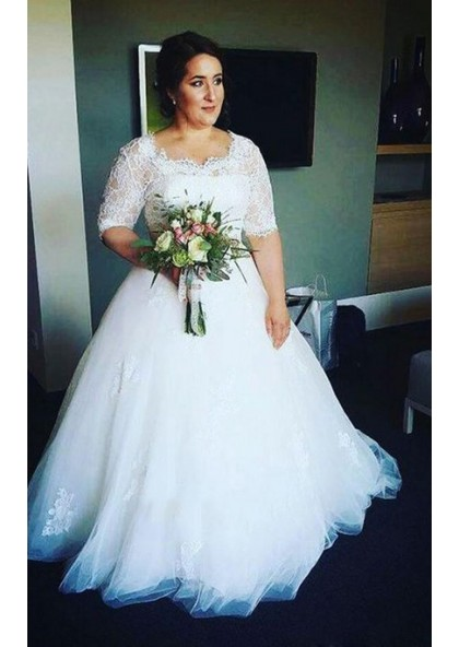2019 New Arrival A Line Half Sleeves Tulle Round Neck Lace Plus Size  Wedding Dresses