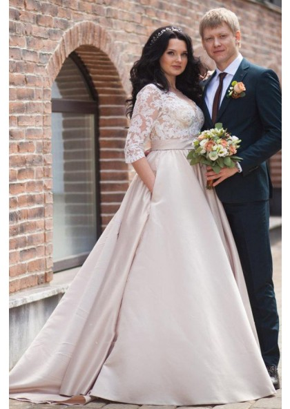 2020 Cheap A Line Satin Champagne Long Sleeves Sweetheart Lace Plus Size  Wedding Dresses