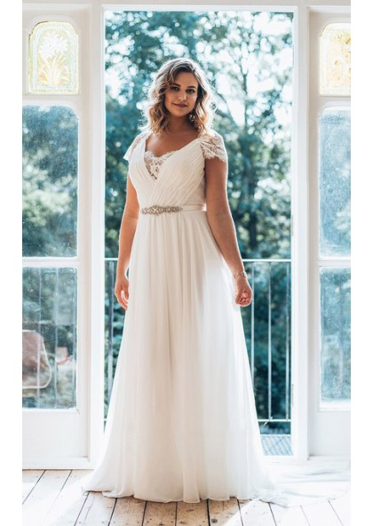 2019 Cheap Chiffon A Line Floor Length V Neck Capped Sleeves Lace Beach  Plus Size Wedding Dresses
