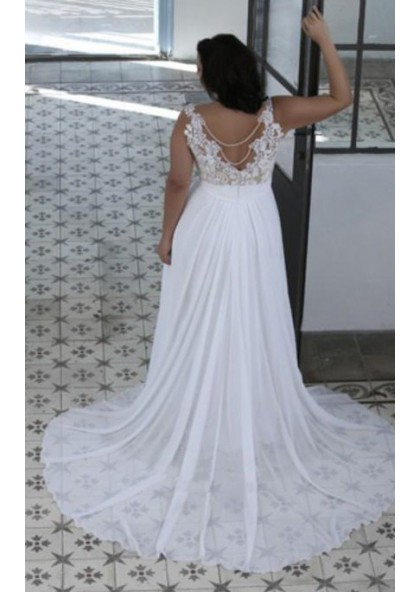 2019 Cheap A Line Sweetheart Lace Chiffon Backless Beach Plus Size Wedding  Dresses