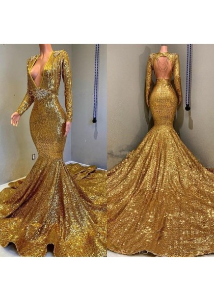 ac0ff5a064a9 2019 Sexy Mermaid Gold V Neck Backless Long Sleeves Sequence African  American Prom Dresses