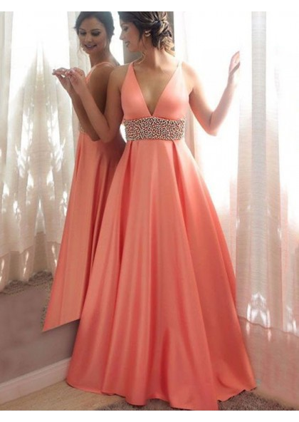 7863cae528a30 Elegant A Line Satin Coral V Neck Beaded Sash Backless Prom Dress 2019