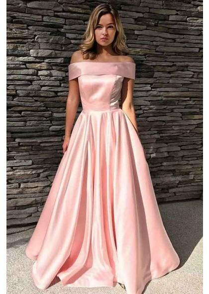 e78df2cd459d2 Cheap Pink A Line Elastic Satin Off Shoulder Long Prom Dress 2019