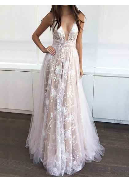 ebabf3702f6d 2019 Low Cut Tulle Brown Lace Sequined Sleeveless Prom Dresses