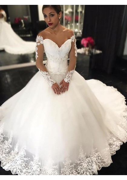 dbb561cbbb47 White Off Shoulder Ball Gown Long Sleeve Sweetheart Applique Wedding Dresses