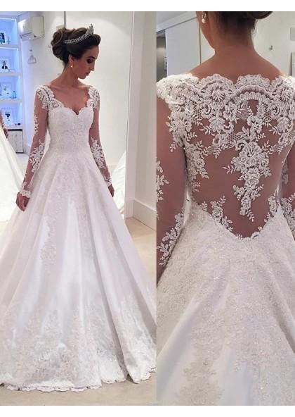 3e2abe95698 Backless Lace Applique A Line White V Neck Long Sleeve Wedding Dresses SKU   2019WEDD-9442 ...