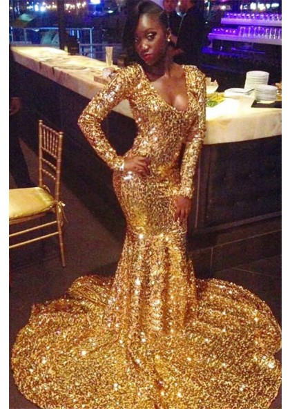 2020 Shining Gold Sequins Long Sleeve Mermaid/Trumpet Scoop Neck Plus Size  Prom Dresses